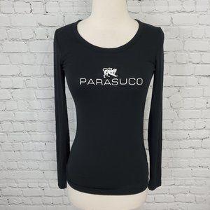 Parasuco Long Sleeve Tee Black Silver Logo S NWT